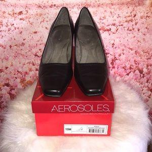 Aerosoles Black Leather Pumps
